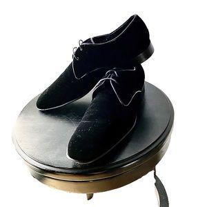 Salvatore Ferragamo Black Tie Velvet Oxfords 9.5D